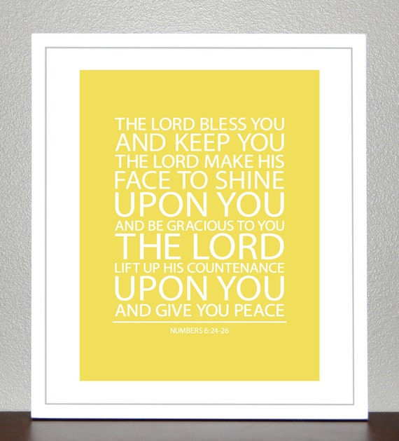 Boy baptism gift - Bible Verse - Yellow - Numbers 6 - 8x10 Print