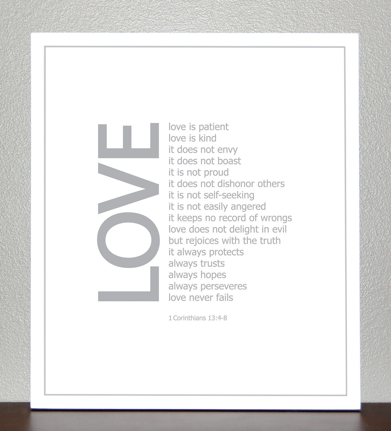 Wedding Gift Love 8x10 Bible Verse Print 1 Corinthians