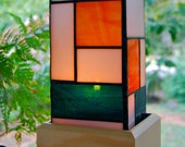 Quadratic Lamp or Candle Holder with Wooden Base