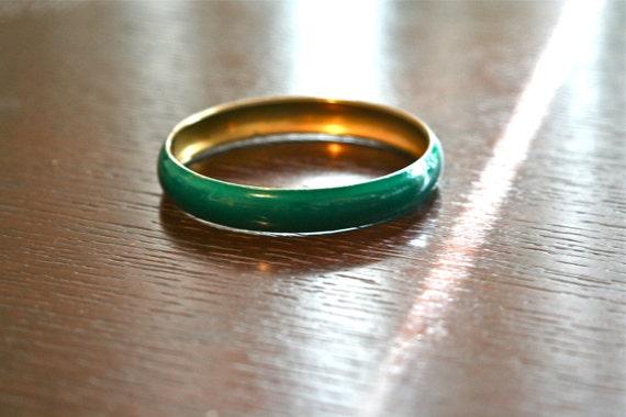 Vintage Brass Bangle Bracelet with Green Enamel