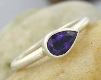 Pear Shape Amethyst set in a Hammered Texture, Satin Finish Sterling Silver Ring