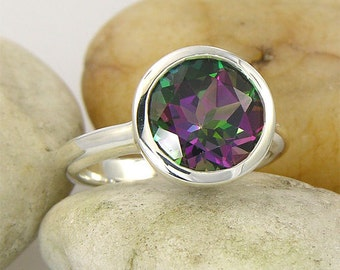 10mm Mystic Topaz Ring and wedding band and period custom ring