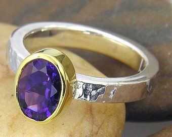 Purple Amethyst Ring. 14k Gold Plated, 925 Sterling Silver, Hammered Texture Ring. Oval shape in your ring size