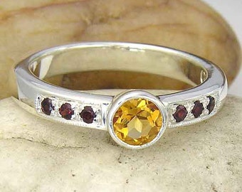 Citrine and Garnet Sterling Silver Ring. Orange Citrine and Red Garnet Ring in 925 Sterling Silver