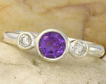 Amethyst and White Sapphire 3 Stone Sterling Silver 925 Ring, made to order in your ring size