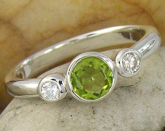 Peridot and Topaz Silver Ring. Peridot and White Sapphire 3 Stone Sterling Silver Ring, made to order in your ring size