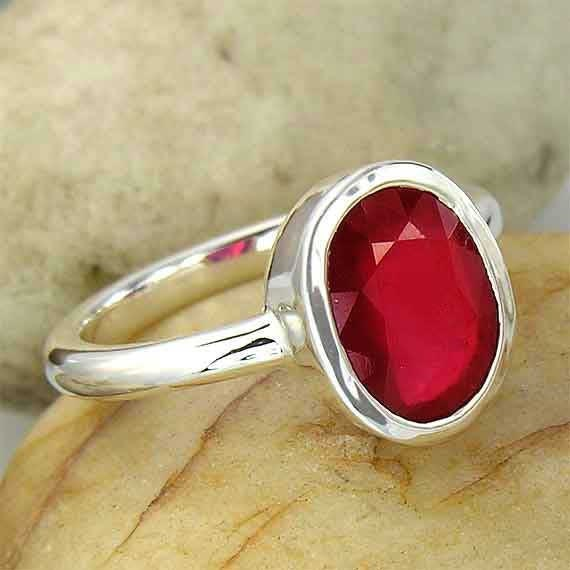 3ct Natural Genuine Red Ruby 925 Sterling Silver Ring - one of a kind and ready to ship - solitaire ruby ring