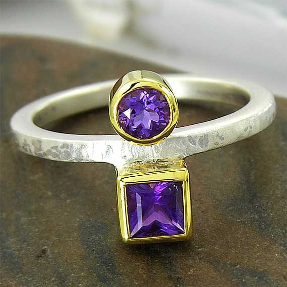 Double Bezel Set Round and Square Shape Purple Amethyst Ring - Recycled Sterling Silver and 14k Gold - 4 mm