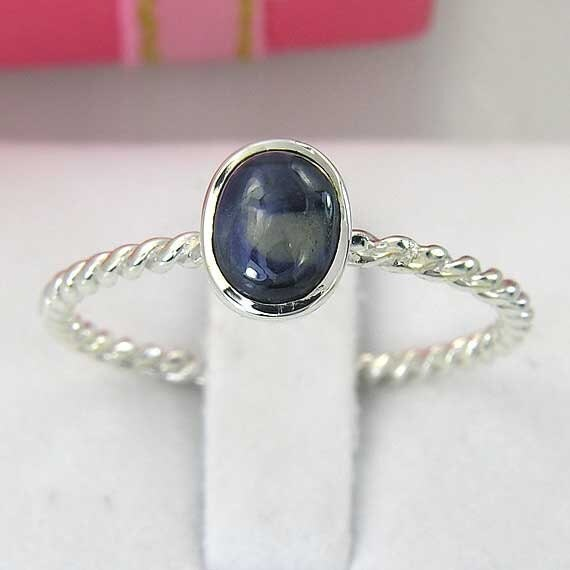 Rare 1ct blue sapphire recycled silver ring  - ring size 8 US (can re-size) - instock and ready to ship now