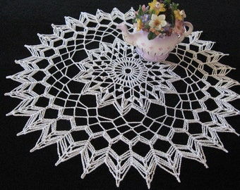 Crocheted Captivating Delight 15 inch round white doily