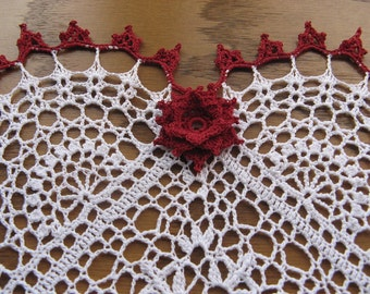 Heart shaped crochet doily-Heart felt