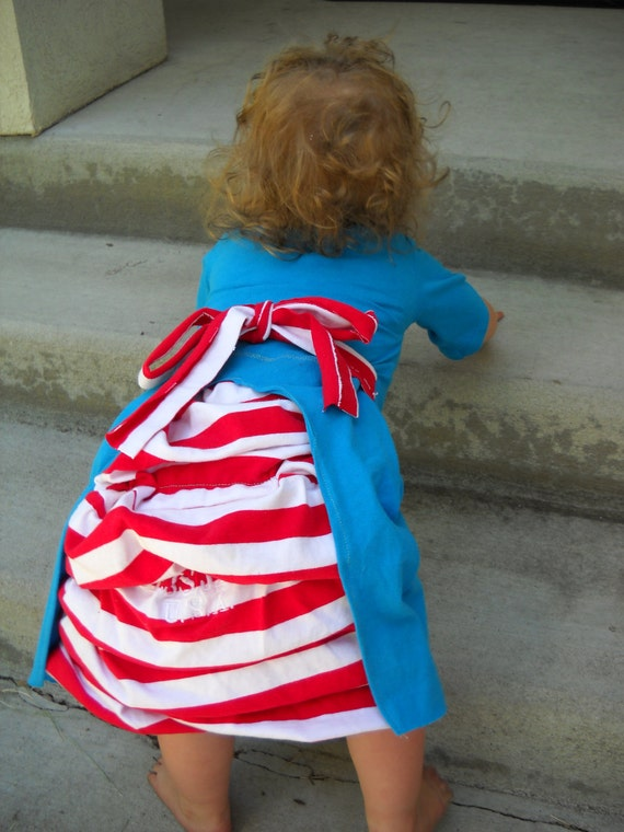 Girls Upcycled Blue 4th of July Converse Bustle Dress, Size 18 month/2T