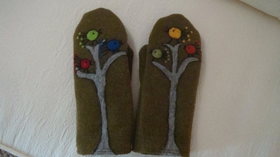Wool mittens with six felted birds
