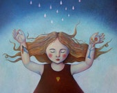 """Print mounted on wood of """"The Rainmaker"""" by Isabelle Bryer  7.75"""" x 10.5"""""""