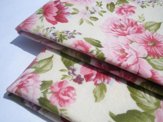 Cloth Napkins, Set of 2, Pink Floral with Pale Yellow Reverse