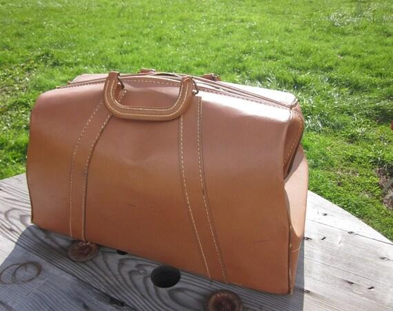 Vintage Cheney Leather Doctors Bag Travel Case Suitcase