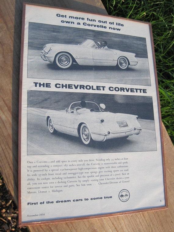 Vintage 1954 Corvette Advertisement Motor Trend Collectible
