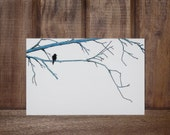 "Blue Branches-An Illustration of a black bird / crow perched upon blue branches Infused onto a 6x4"" High Gloss Metal plate"