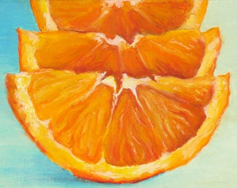Matted Print of an Original Oil Pastel Painting of Orange Slices