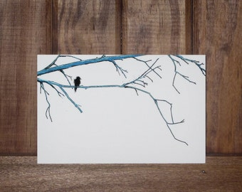 """Blue Branches-An Illustration of a black bird / crow perched upon blue branches Infused onto a 6x4"""" High Gloss Metal plate"""