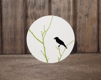 """Lime Branches-----An Illustration of a crow / black bird perched upon lime green branches Infused onto a 5x5"""" High Gloss Metal Circle"""