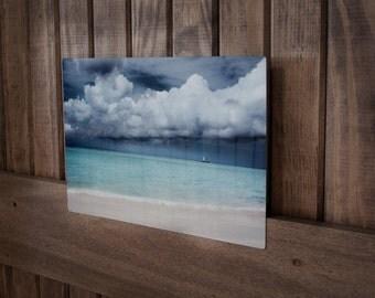 "Aruba---A photograph of a beach landscape infused onto a 8x12"" high-gloss metal plate"