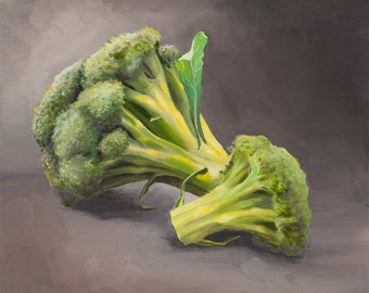 Giclee, Archival, Matted Print of an Original Oil Painting of Broccoli