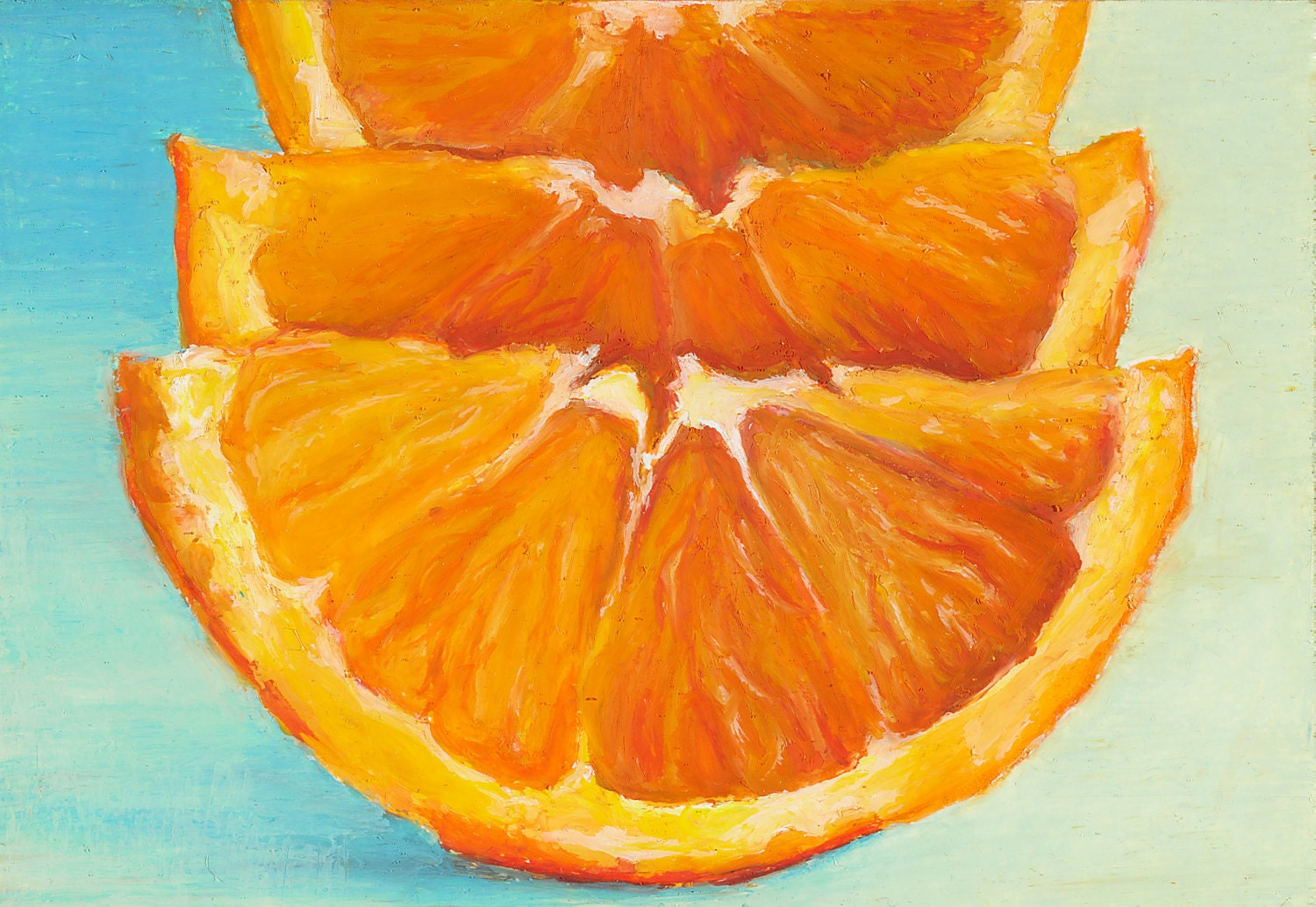 Matted Print Of An Original Oil Pastel Painting Of Orange