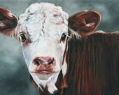 Original Art Calf Print - Cow Print - Fine Art Print, Animal Art, 8x10 Print,  Acrylic Print, Farm Animal Print