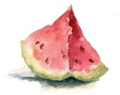Watermelon Watercolor Print, Food Art Print, Fruit Art Print, 8x8, Watercolor Art Print, Home Decor, Wall Decor