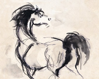 Horse Print - Horse Art - Horse Drawing - Horse Ink Sketch -  Stallion Print - Pen And Ink Arabian Stallion