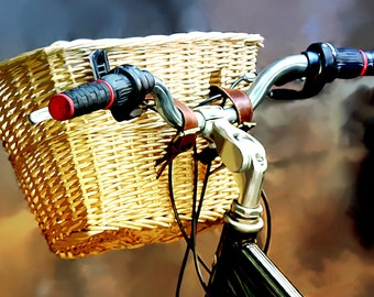 Bicycle Photograph, Bicycle Fine Art Photo, 9x12, Basket Photograph, Bicycle, Bicycle Art Print