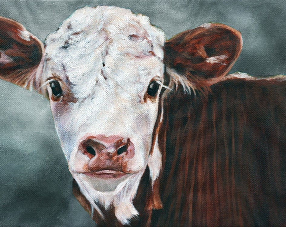 Original art calf print cow print fine art print animal for Cow painting print