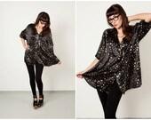 SALE: Vintage Black and Gold Starry Shirt Dress