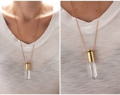 Bullet Casing and Quartz Crystal Necklace