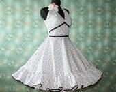 50's vintage dress white Polka Dorts romantic full skirt Pin Up Retro dress tailor made