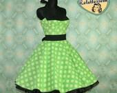 50's vintage dress full skirt Polka Dots black green polka dots Hot Pin Up cut Tailor Made