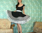 50's vintage dress full skirt black with white black polka dots accents Pinup retro Tailor Made