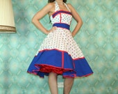 50's vintage dress full skirt classic design in white with blue polka dots tailor made