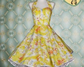 50's vintage wedding dress hawaii flower yellow cotton embroidery fitted Tailor Made after your measurements Pinup