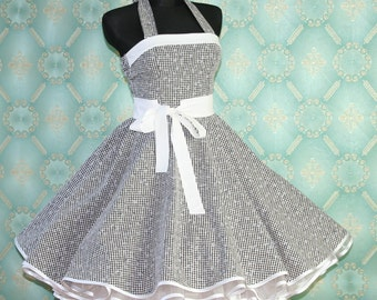 50's vintage dress full skirt flower checkered black white Tailor Made after your measurements