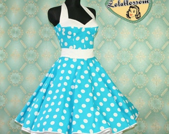 50's vintage dress full skirt Polka Dots turquoise white Hot Pin Up cut Tailor Made