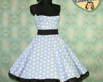 50's vintage dress full skirt Polka Dots light blue white black Hot Pin Up cut Tailor Made