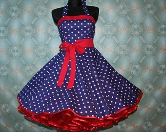 50's vintage dress for Petticoat blue white red polka dots Retro Dress Tailor Made