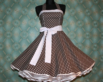 50's vintage dress full skirt brown white polka dots Retro Dress Tailor Made