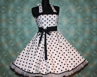 50's vintage dress full skirt white black polka dots Retro Dress Tailor Made