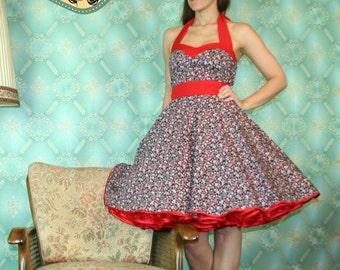 50's vintage dress full skirt mille fleurs flowers Pinup Cuty Tailor Made nr.40