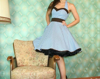 50's vintage dress full skirt baby blue brown polka dots for a petticoat Tailor Made