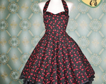 50's vintage dress full skirt black cherry fitted Tailor Made after your measurements Pinup