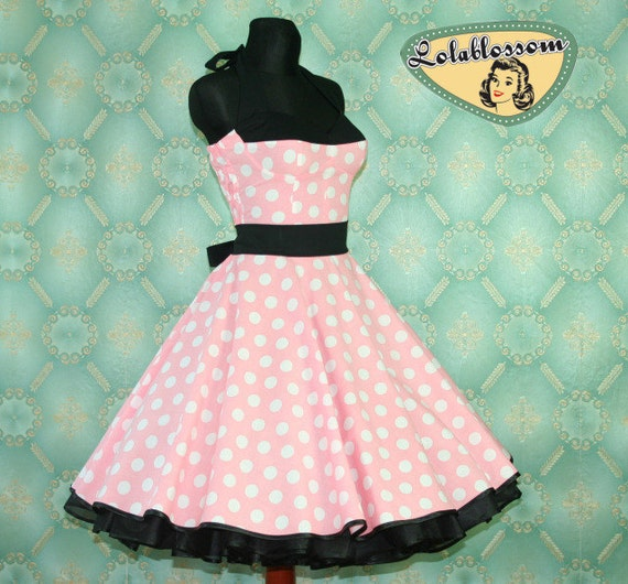 50's vintage dress full skirt Polka Dots light pink white